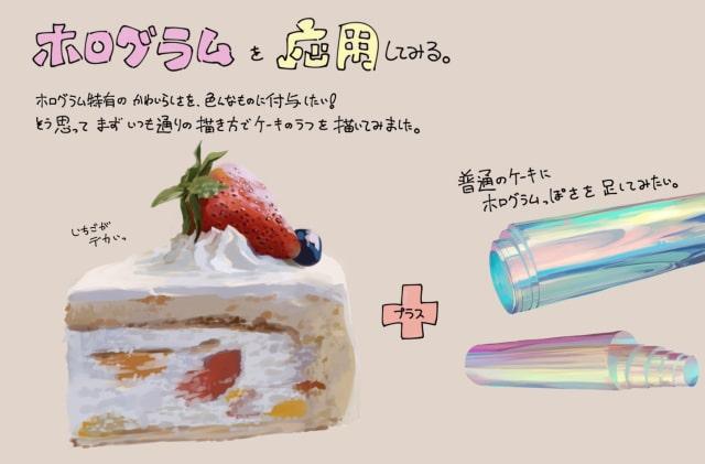 ケーキにホログラムの色を混ぜる
