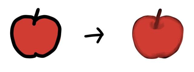 線と面の境界の解説イラスト