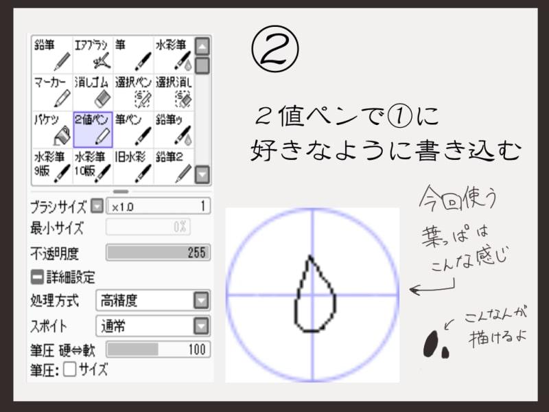 2値ペンで描き込む