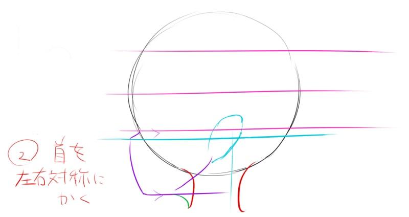 首を左右対称に描く